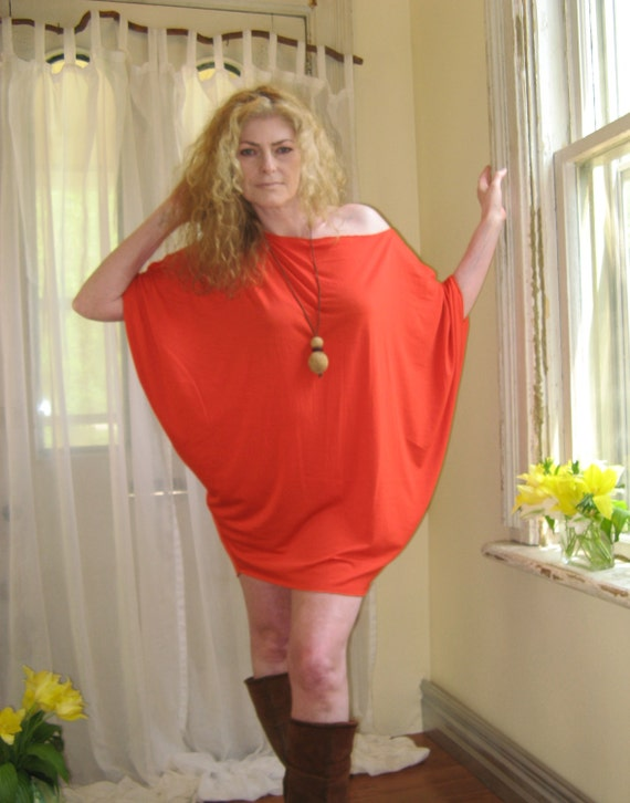 Womens Plus Size Tunic Off Shoulder Top Dolman Sleeve Dress Etsy