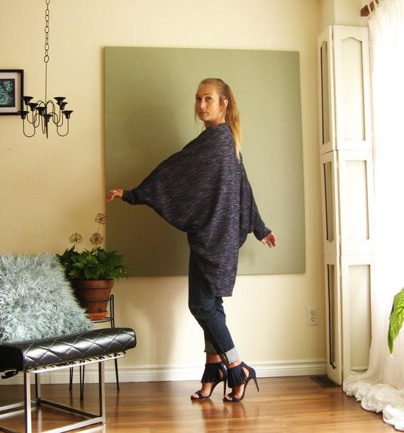 Boho Chic Oversized Cardigan Cozy Loose Sweater Knit Kimono Dolman Wrap Long Sleeves Slimfit Cuff Open Front  PolyRayonSpandex One Size