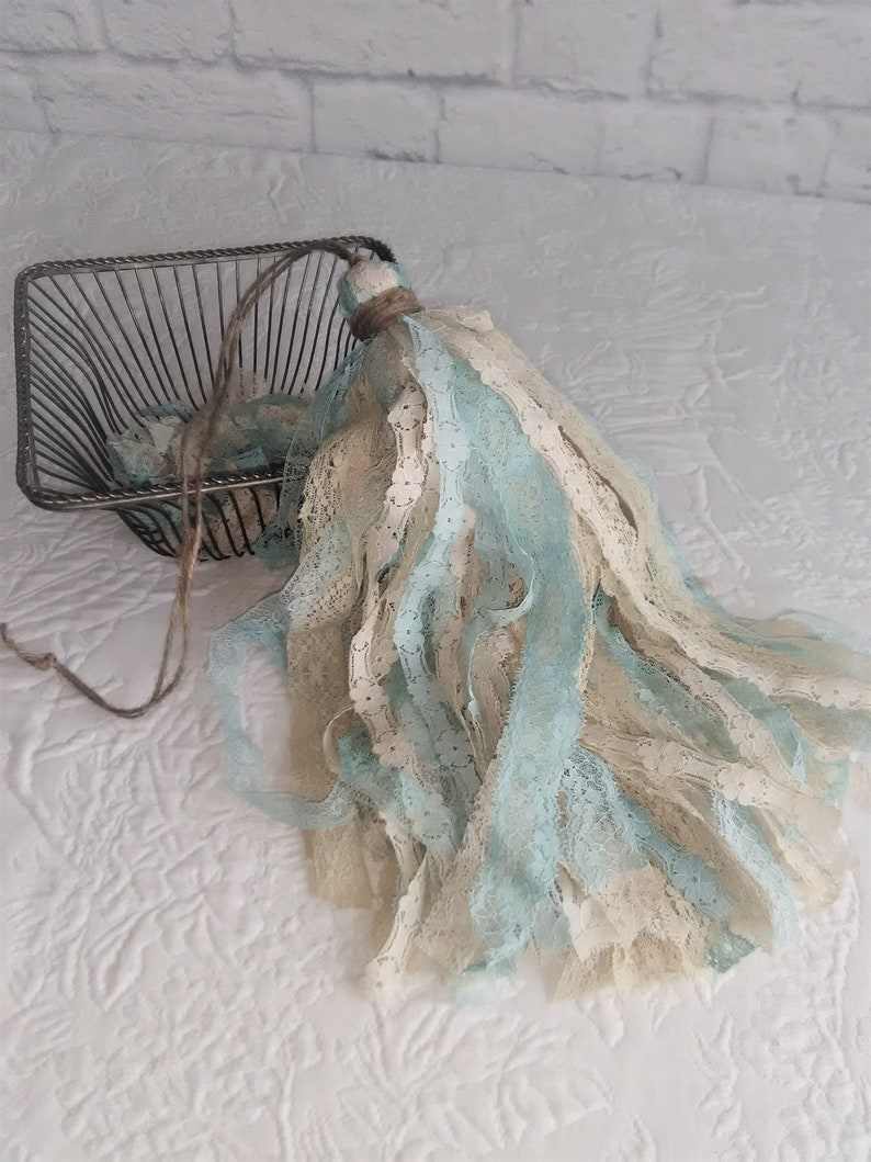 Shabby Lace Large Decorative Tassel Vintage Inspired Cream Ivory Natural  Turquoise Aqua All Lace Ready to Ship