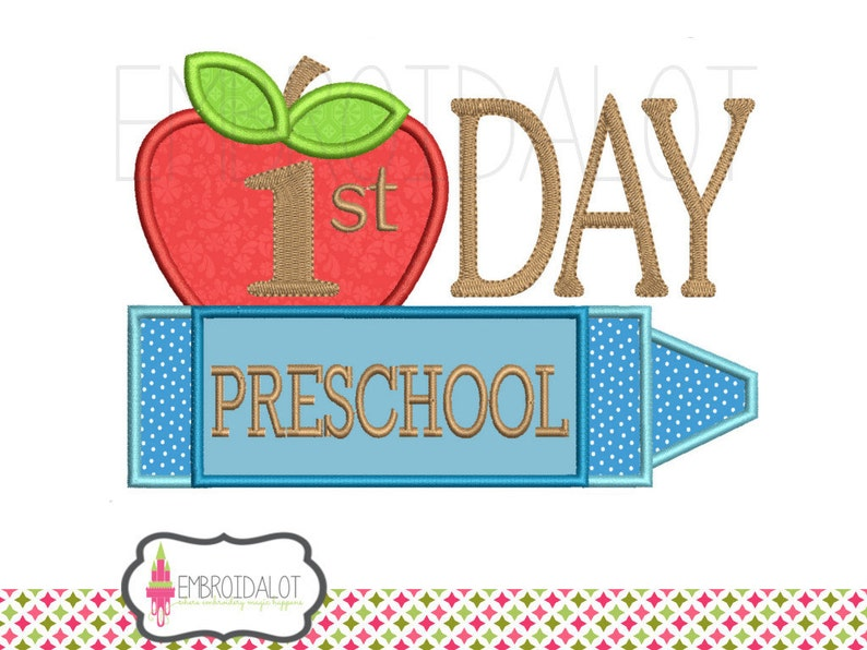 Preschool applique embroidery design  Kindergarten embroidery design  First  day applique school embroidery for back to school projects