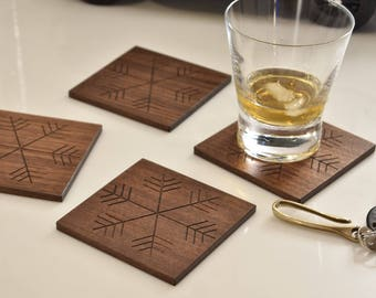 Snowflake drink coasters - Set of 4