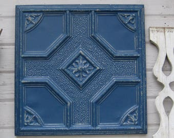 Antique Tin Ceiling Tile, Arkansas architectural salvage, Metal ceiling tile wall art, Indigo blue wall decor, Ten 10th tin anniversary gift