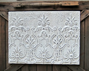 antique tin ceiling tile framed ready to hang vintage architectural salvage rustic white distressed farmhouse wall decor