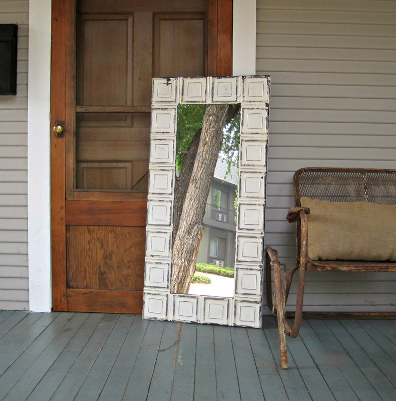 Tin ceiling tile Mirror, 2x4 Bedroom Bathroom Wall Mirror, Architectural  salvage, Old weathered paint, Rustic, Shabby, French country decor