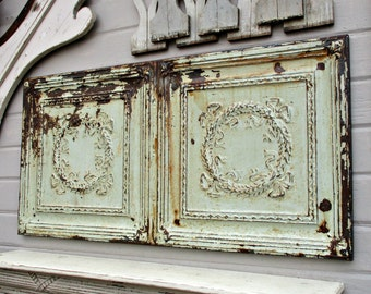 Tin Ceiling Tile, Antique Vintage Architectural salvage wall art, Framed ready to hang, 100 year old paint, Rustic decor, Tin ceiling art
