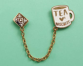Tea Loves Biscuits Chained Enamel Pin Duo - Mug Lapel Pin - Cup Badge - Chain Collar Clip