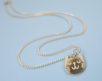 Itty Bitty Silver Kitty Necklace - Silver Plated Cat Pendant