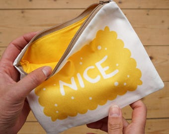 Nice Biscuit Pouch / Zipped Pouch - Biscuit Pouch - Zippy Pouch - Yellow Pouch