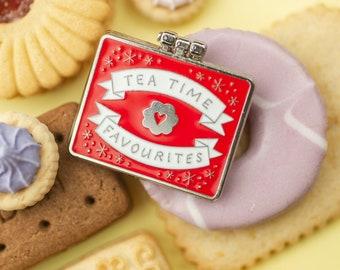 Teatime Favourites Biscuit Tin Surprise Inside - Enamel Pin / Pin Badge - Flair - Enamel Badge - Cookie Pin