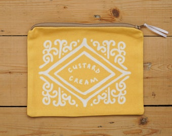Custard Cream Pouch / Zipped Pouch - Biscuit Pouch - Zippy Pouch - Yellow Pouch