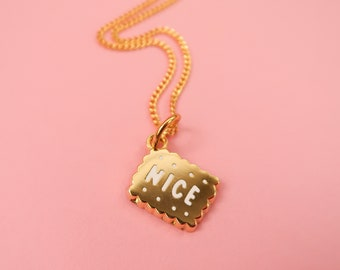 Itty Bitty Golden Nice Biscuit Heart Necklace - Gold Plated Nice Pendant