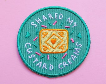 Shared My Custard Creams - Achievement Patch - Iron-On Embroidered Patch / Flair - Cookie Patch