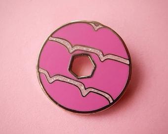 Pink Glitter Party Ring Biscuit Enamel Pin / Pin Badge - Flair - Enamel Badge - Cookie Pin