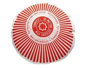 Tunnock's Teacake Printed Cushion / Biscuit Cushion - Cookie Pillow