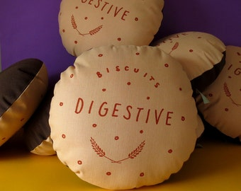 Chocolate Digestive Printed Cushion / Biscuit Cushion - Cookie Pillow