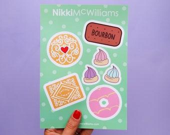 Biscuit Lover Vinyl Stickers Sheet - Sticker Pack - Cookie Stickers - Vinyls - Food Decals -