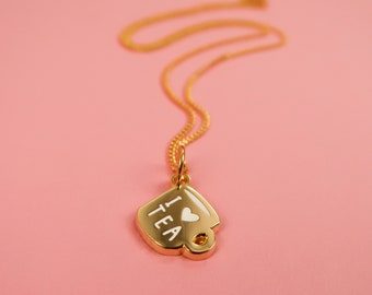Itty Bitty Golden I heart Tea Necklace - Gold Plated Nice Pendant
