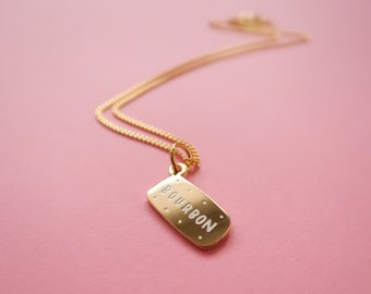 Itty Bitty Golden Bourbon Heart Necklace - Gold Plated Biscuit Pendant