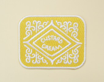 Custard Cream Iron-On Embroidered Patch / Flair - Biscuit Patch