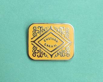 Custard Cream Biscuit Enamel Pin / Pin Badge - Flair - Enamel Badge - Cookie Pin
