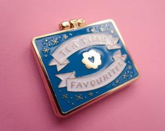 Teatime Favourites Biscuit Tin Surprise Inside - Blue & Gold - Enamel Pin / Pin Badge - Flair - Enamel Badge - Cookie Pin