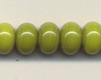 9-10mm range, Tom's lampwork semi-transparent chamomile green spacers (11 spacers) 95435