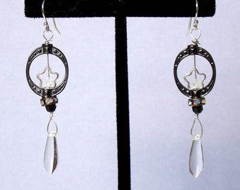 Black, White, and Clear Crystal Beaded Earrings