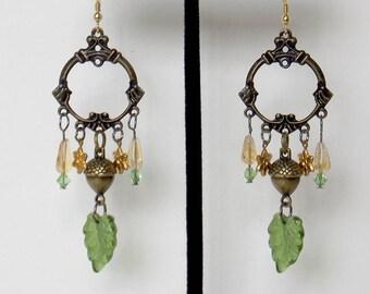 Chandelier Acorn Citrine Dangle Earrings