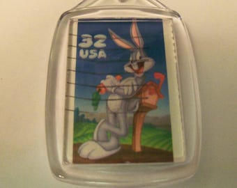 Key Chain, Acrylic Key Chain, Bugs Bunny, Postage Stamp, Gift under 5, Looney Tunes, Cartoons