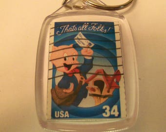 Key Chain, Acrylic Key Chain, Porky Pig, Postage Stamp, Gift under 5, Looney Tunes, Cartoons