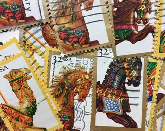30 Vintage Stamps, Carousel Horses, Used Stamps, Carousel Animals, Carousel Party, Postage Stamps, Carousel invitations