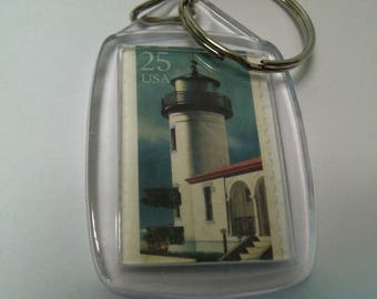 Key Chain, Acrylic Key Chain, Lighthouse key chain,  Postage Stamp, Gift under 5, Lighthouse