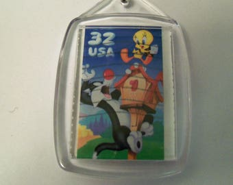 Key Chain, Acrylic Key Chain, Sylvester, Tweety Bird, Postage Stamp, Gift under 5, Looney Tunes, Cartoons