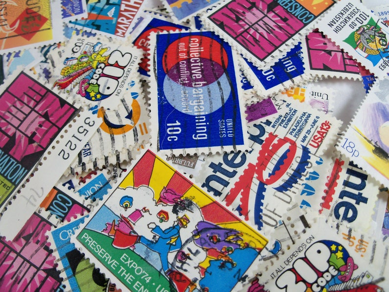 Bright colors Postage Stamps 50 Vintage Postage Stamps Craft Stamps