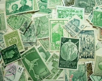 40 Green Postage Stamps, Vintage Stamps, Postage Stamps, World Wide, Green Stamps 1950's