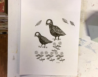 Original Drawing Of Two Birds With Roses