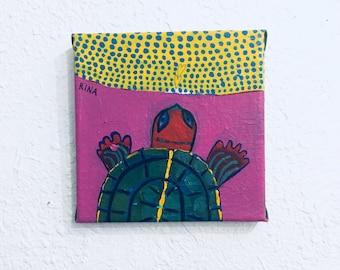 "Original Acrylic Turtle Painting ""Traveler"" by Rina Miriam Drescher"