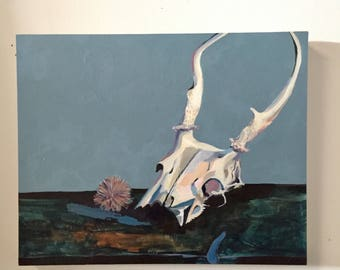Original Acrylic Still Life Painting Of Deer Skull, titled White-Tailed Deer by Rina Miriam Drescher