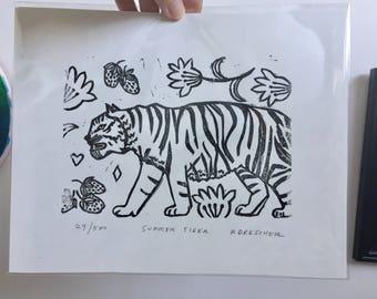 "Original Limited Edition Hand-pulled Linoleum Block Print ""Summer Tiger"""