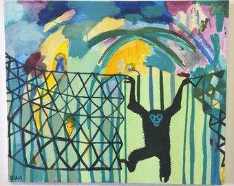 Original Acrylic Painting Of A Monkey by Rochester, NY artist Rina Miriam Drescher