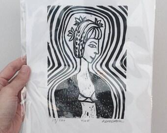 "Original Limited Edition Hand-Pulled Linoleum Block Print, titled ""Vibe"""