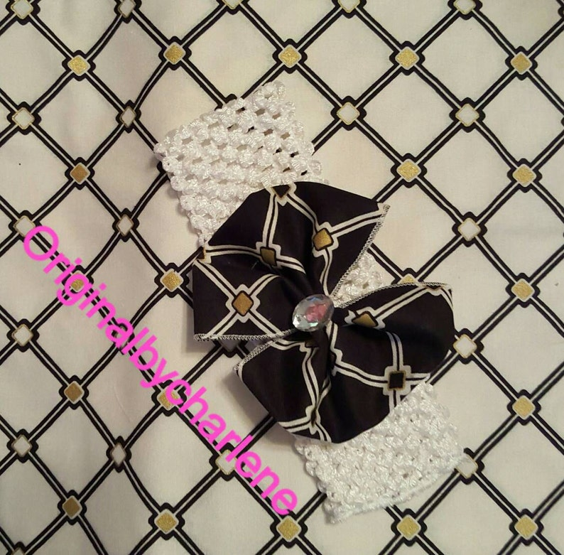 Boutique Custom Made OOAK Fancy Feet White and Black Accented with Beige Diamonds Lace Ruffle Socks and headband set