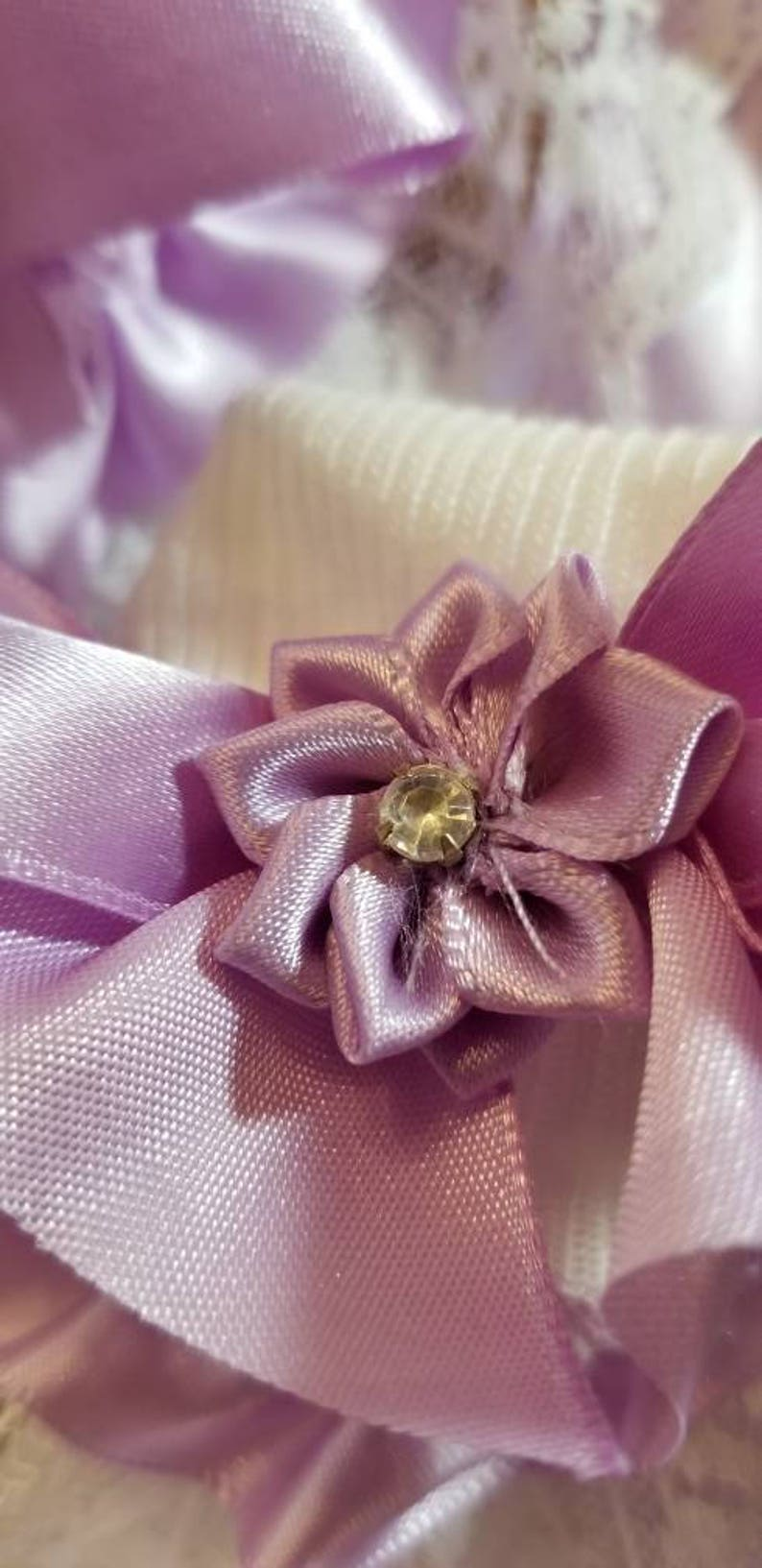 Boutique Custom Made OOAK Lavender Fancy Feet Satin and Lace Ruffle Socks