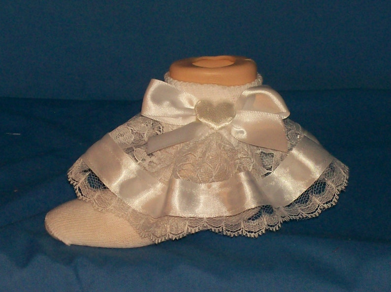 Boutique OOAK White Satin Hearts Ribbon and Lace Pageant Ruffle Socks