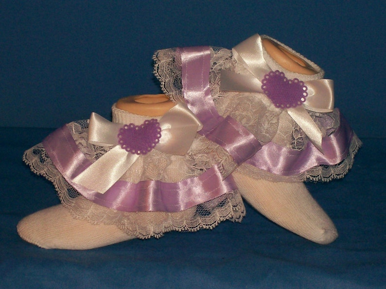 Boutique OOAK Lavender Heart Ribbon Lace Ruffle Socks