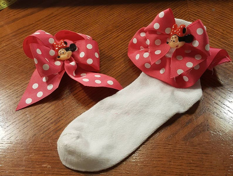 Boutique Custom Made OOAK Fancy Feet Pink Dotted Minnie Mouse Ribbon Ruffle Socks with Matching Hairbow