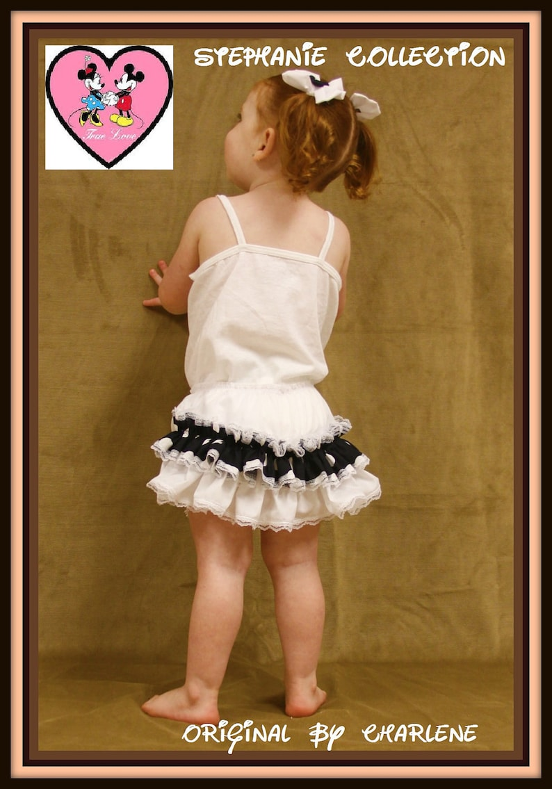 Stephanie Collection Boutique Mickey or Minnie Black and White Double Ruffle Panty or Diaper Cover