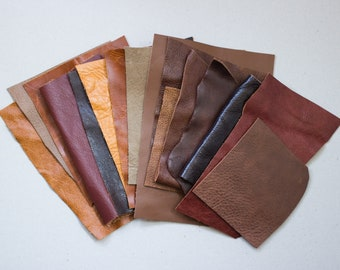 Scrap Leather Pieces - Brown Tan Neutral - Scrap bag - 230 grams - 1/2 lb - 8 oz - remnants - off cuts - rainbow - coloured hide