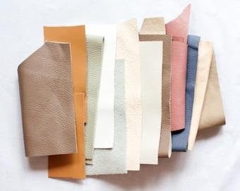 Scrap Leather Pieces - Muted Dusky Pastel - Scrap bag - 230 grams - 1/2 lb - 8 oz - remnants - off cuts