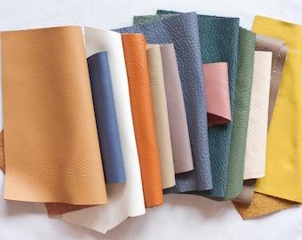 Scrap Leather Pieces - Mixed Colours - Scrap bag - 230 grams - 1/2 lb - 8 oz - remnants - off cuts - brown - tan - rainbow